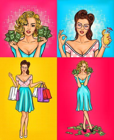 Vector set illustraties retro lachende pop art meisje
