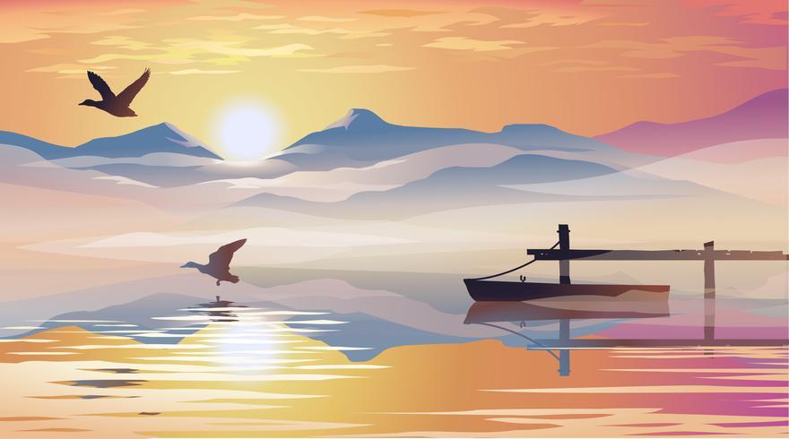 Vue sur le lac et la jetée