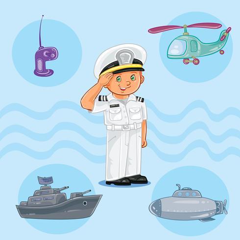 Niño marinero con un buque de guerra, submarino y helicóptero.