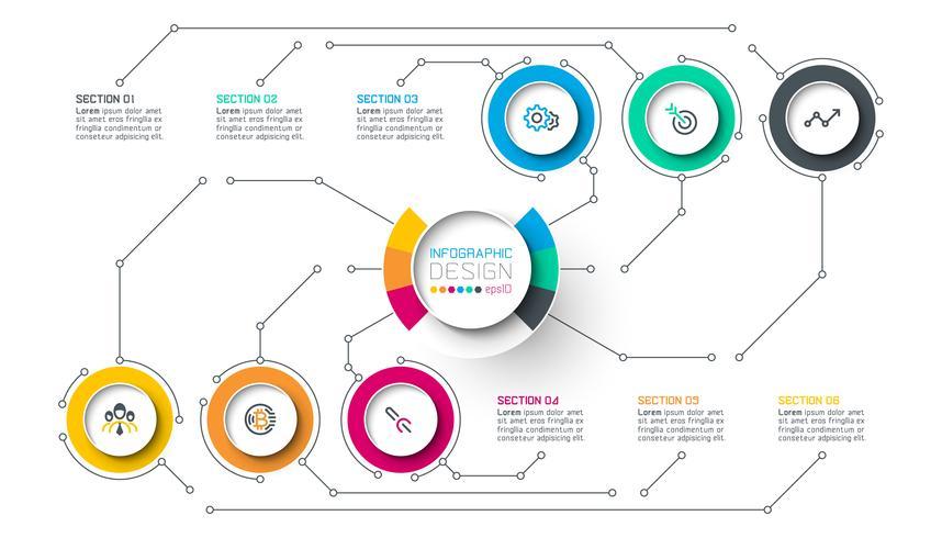 Cerchio etichetta infografica con passo dopo passo.