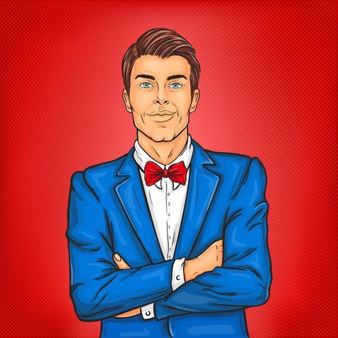 Uomo di pop art fiducioso in giacca e cravatta