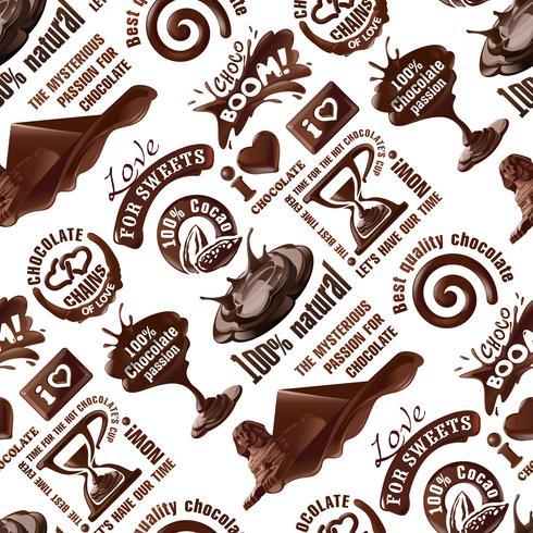 Vector seamless di etichette di cioccolato