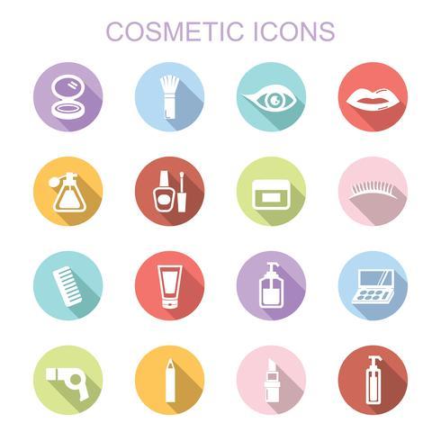 iconos cosméticos larga sombra vector
