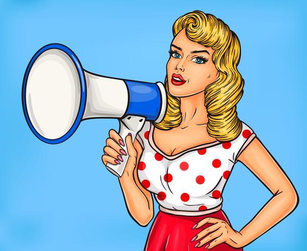 Garota de pop art com megafone