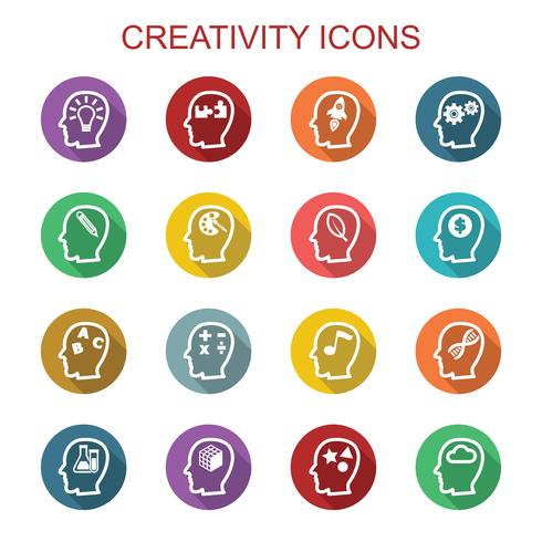 ícones de longa sombra de criatividade vetor