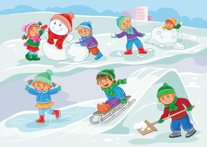Vektor illustration av små barn leker utomhus på vintern
