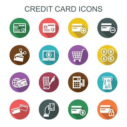 ícones de sombra longa de cartão de crédito vetor
