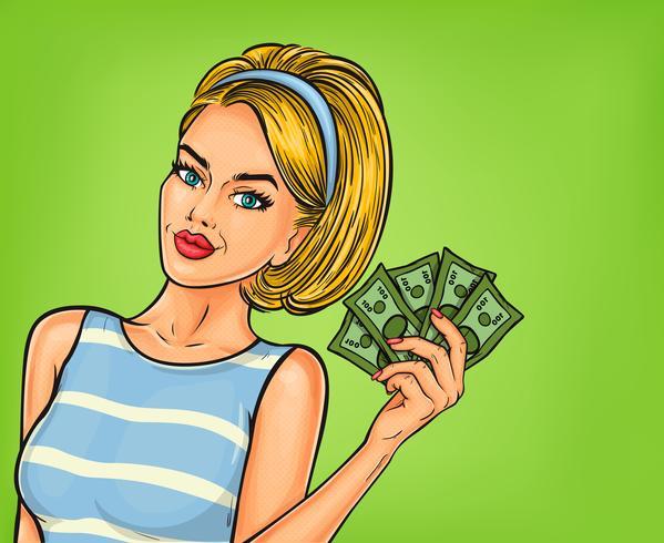 Vector pop art girl with cash