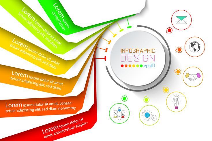 Buntes Fahnengeschäft infographic mit sechs Schritten.