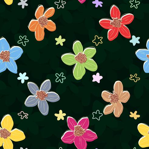 Floral element on dark seamless background.