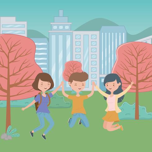 Projeto dos desenhos animados do menino e das meninas do adolescente