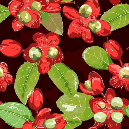 Red flower on seamless background.