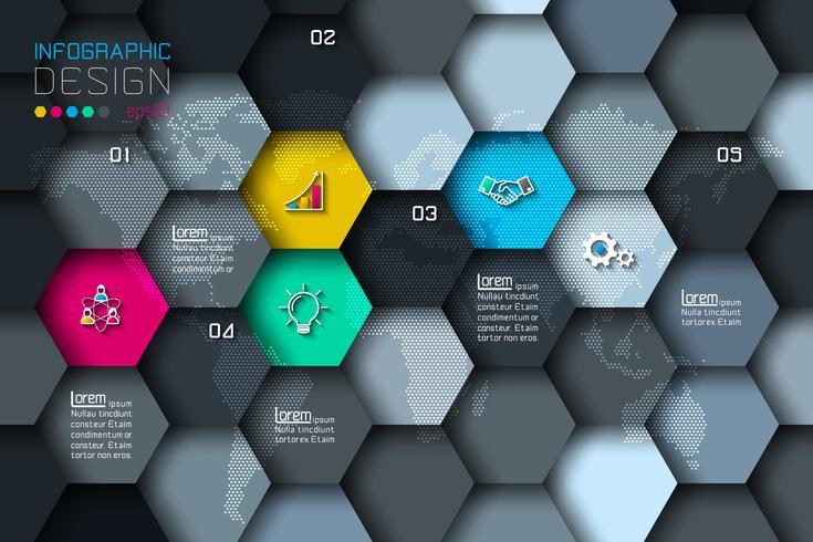 Las etiquetas netas del hexágono del negocio forman infographic con el fondo oscuro.