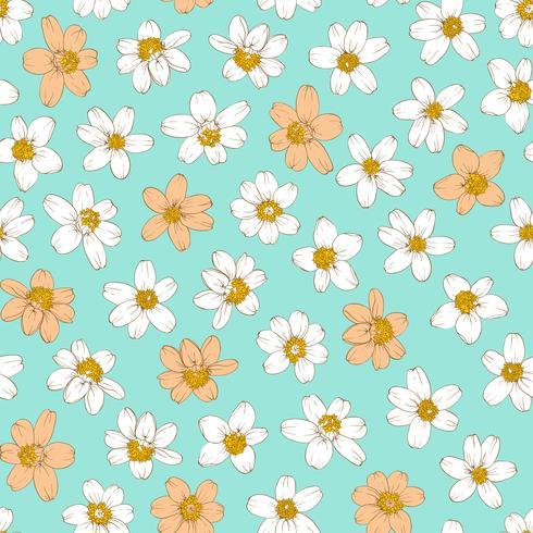 Nahtloser Hintergrund der bunten Blumen.