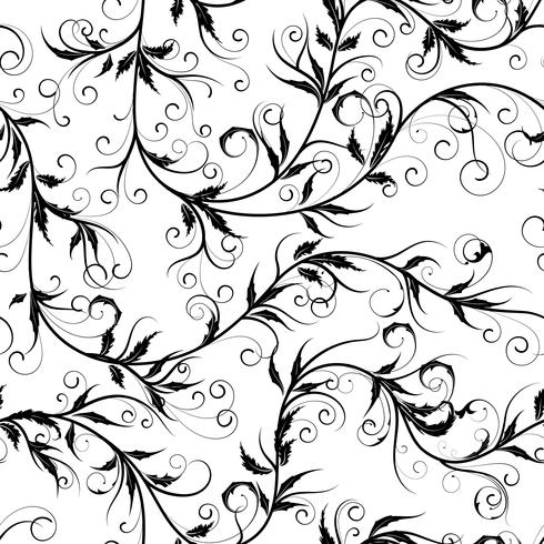 Seamless monochrome floral background on vector illustration.