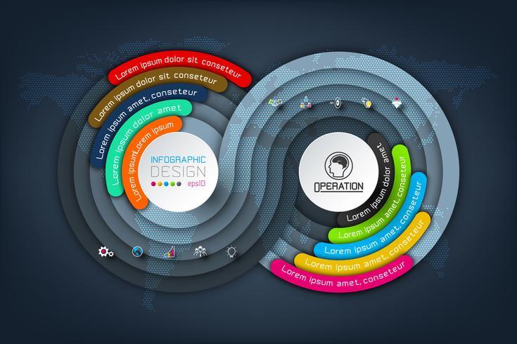 Kreisorigami Geschäft Infographics mit Schattenart Vektorillustration.