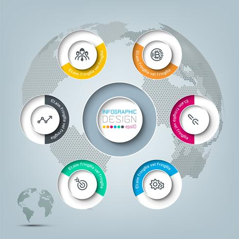 Six circles with business icon infographics. vector