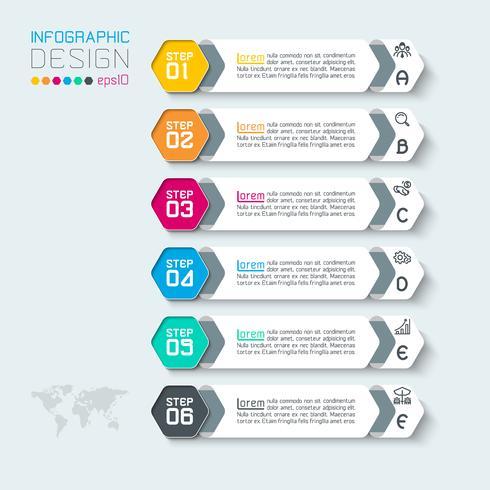 Sei etichette con infografica icona aziendale. vettore