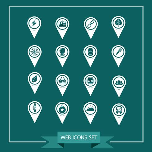 Set av Map Pointer-ikoner för webbplats och kommunikation