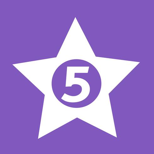 cinco estrelas, hotel, ícone, desenho, ilustração vetor
