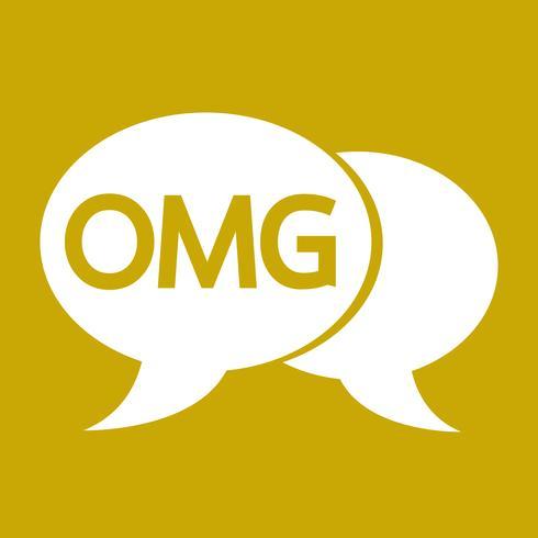 Ilustração de bolha de bate-papo OMG internet sigla