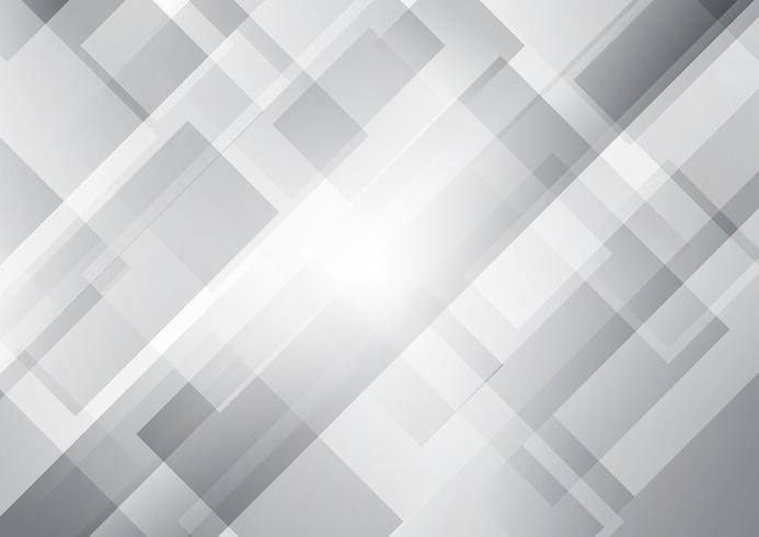 Los cuadrados blancos y grises abstractos forman el fondo traslapado geométrico. vector