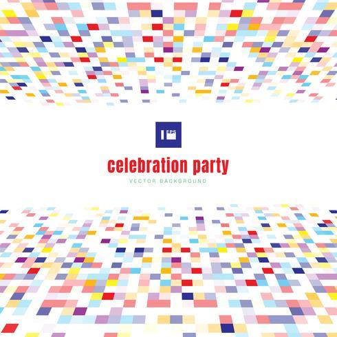 Bunte Feierpartei der abstrakten Quadratmusterperspektive Farbauf weißem Hintergrund.