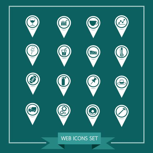 Set of Map Pointer icons for website and communication