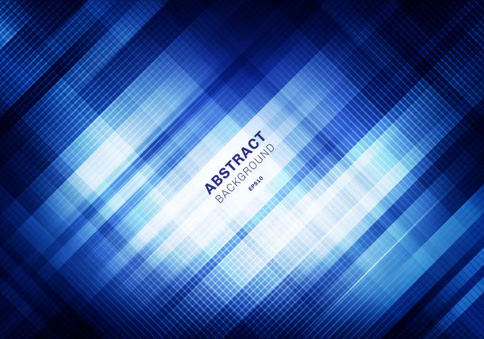 Abstrakt randigt blått rutmönster med belysning på mörk bakgrund. Geometriska rutor överlappar designteknik stil. Du kan använda för omslagsdesign, broschyr, affisch, reklam, tryck, broschyr, etc.