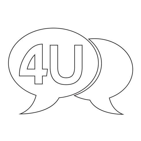 4U internet acroniem chatbel illustratie