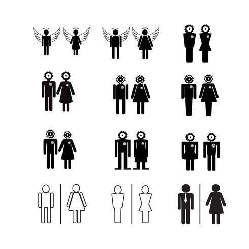 Ilustração de ícones de pessoas de silhueta vetor