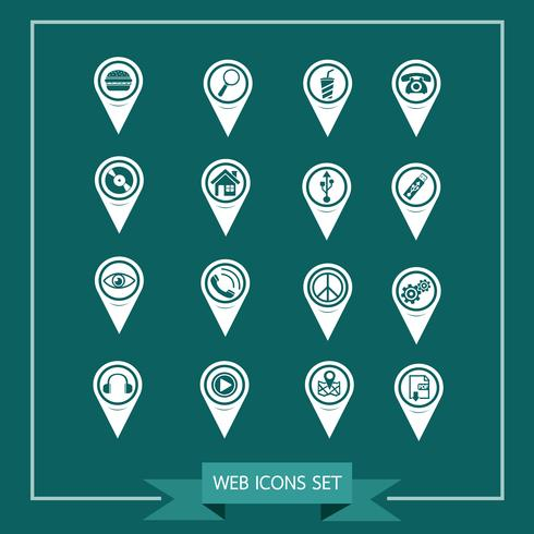 Set of Map Pointer icons for website and communication vector