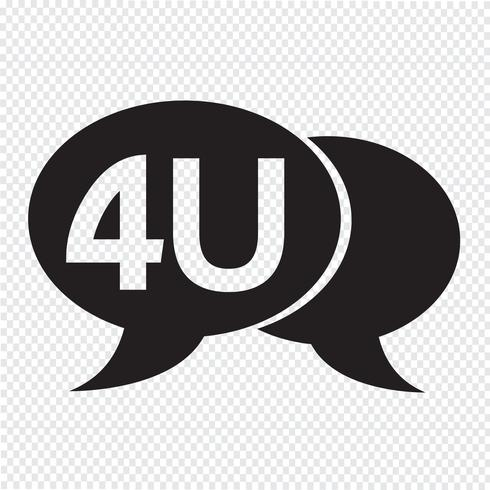 4U internet acronym chatt bubbla illustration