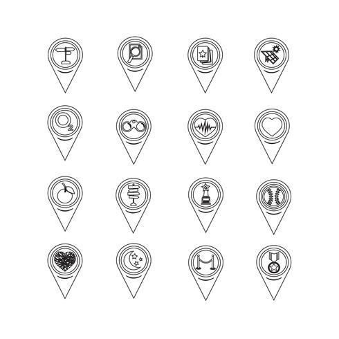 Ensemble d'icônes de pointeur de carte pour site Web et communication
