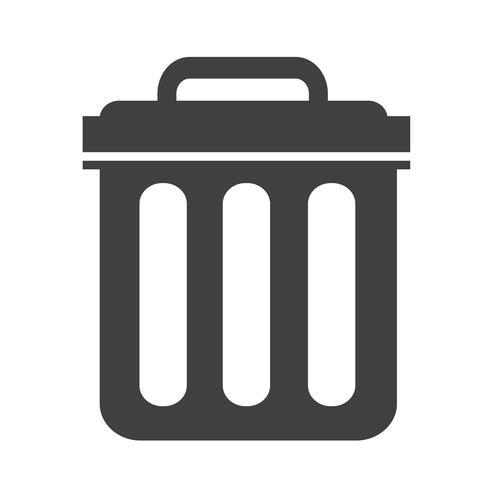Illustrazione di simbolo dell'icona della pattumiera