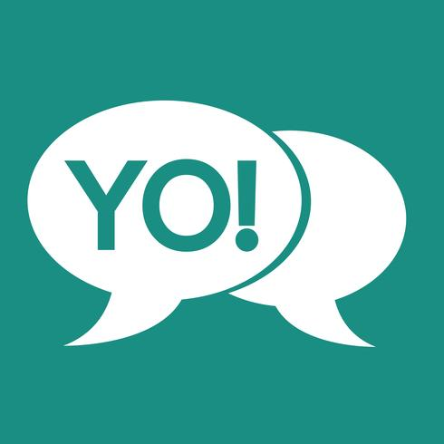 YO internet acroniem chat bubble illustratie