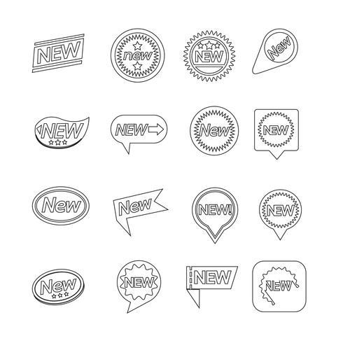 Lot d'étiquettes New Icon pour site Web et communication