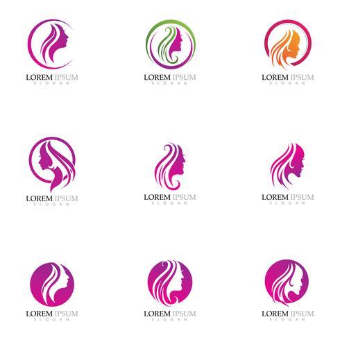 Skönhet Kvinnor står inför silhuett karaktär Logo
