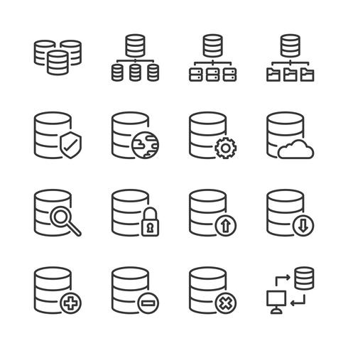 Database system icon set.Vector illustration