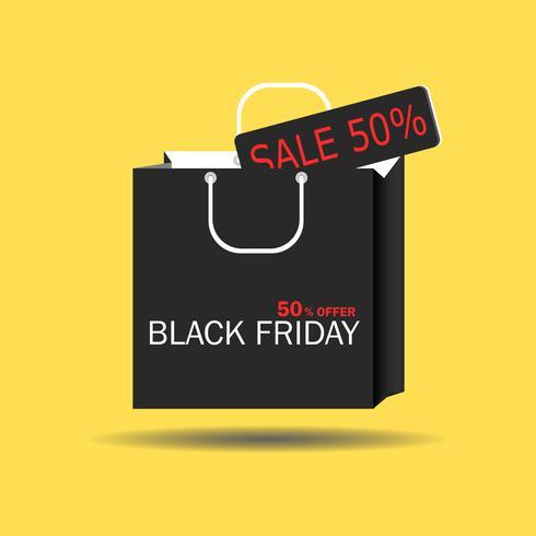 Black Friday concept Borsa in carta nera con tag offerta Vendita. Banner di venerdì nero per la promozione. Illustrazione vettoriale isolato su sfondo giallo