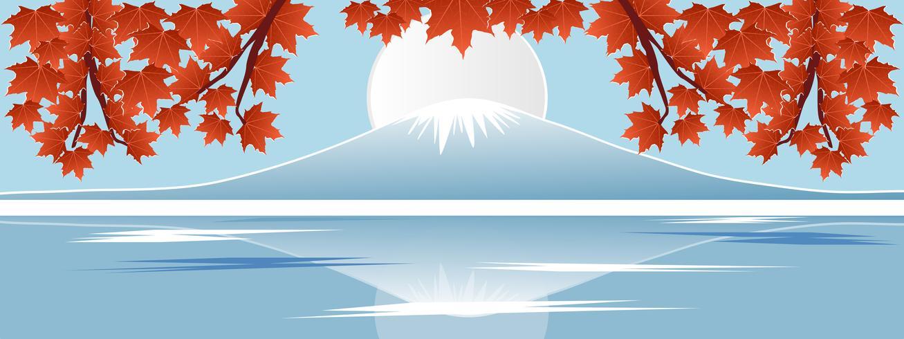 Panorama della foglia di acero rossa di stagione autunnale con la montagna di Fuji nei punti di riferimento di fama mondiale del Giappone. Illustrazione di vettore di stile taglio carta tagliata