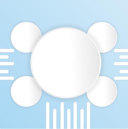 Witboek gesneden leeg met blauwe achtergrond. Ontwerp spandoek poster vectorillustratie