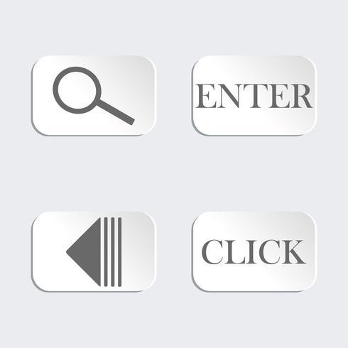 Set mit 4 Knöpfen. Lupe. Abspielen. Klicken. Eingeben. Design für Icons Website auf grauem Hintergrund