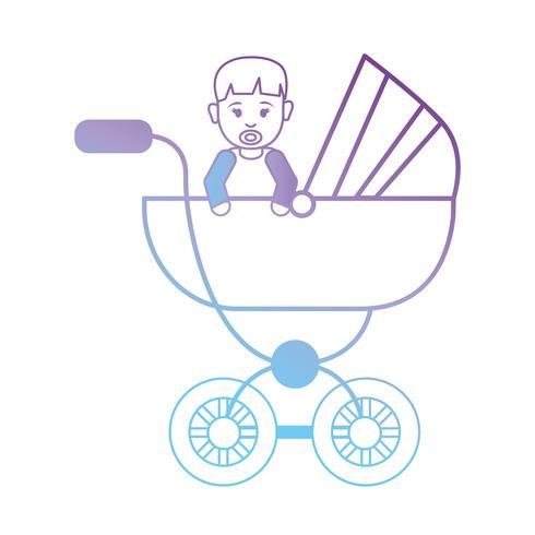 line baby boy inside stroller design vector