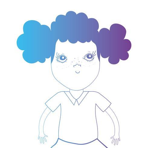 Línea avatar niña con peinado y blusa