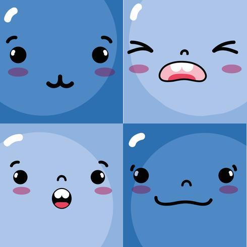 establecer emociones emoji caras personajes iconos vector