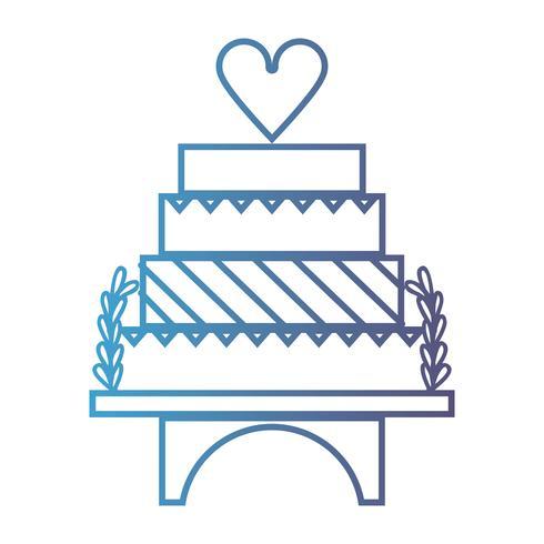 lijn heerlijke en zoete cake om ontwerp te vieren