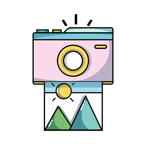 digital camera with picture art image vector
