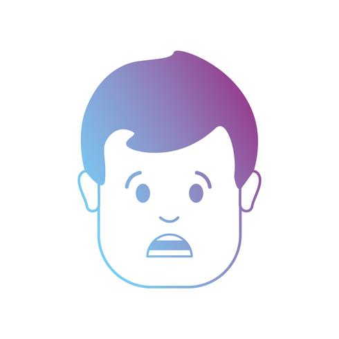 cabeça de homem de avatar de linha com design de penteado