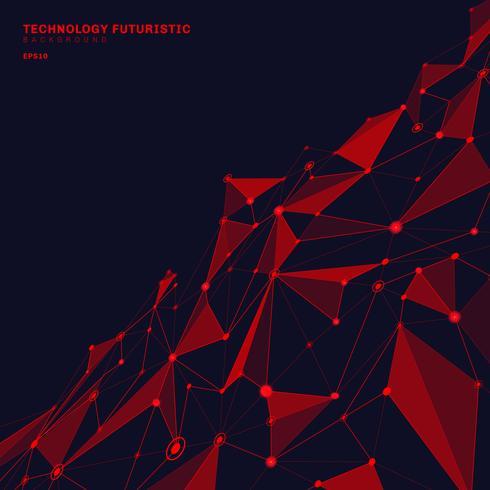 Formas poligonales rojas abstractas en el fondo de la perspectiva azul marino que consiste en líneas y puntos en la forma de planetas y concepto de la tecnología de las constelaciones. Conexión digital a internet.